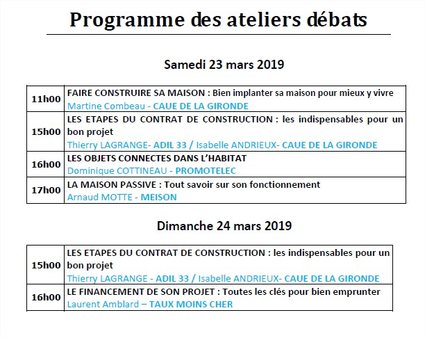 programme Maison Neuve Bordeaux 2019